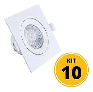 Kit 10 Spots de Embutir LED Quadrado PP 7W 4000K - Startec