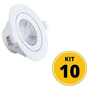Kit 10 Spots de Embutir LED Redondo PP 7W 6500K  - Startec