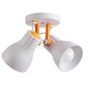 Spot Sobrepor Direcionável Duplo Octa Plus Branco/Amarelo 2xE27 Bivolt - Design Moderno Quato/Sala - Startec