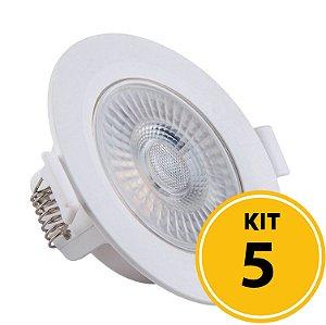 Kit 05 Spots de Embutir LED Redondo PP 5W 6500K  Luminária Teto/Gesso - Startec