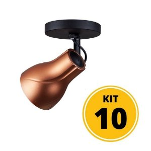 Kit 10 Spot de Sobrepor Direcionável Octa Plus Cobre 1xE27