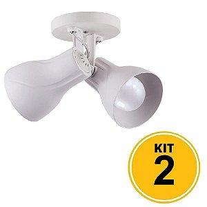 Kit 2 Spot de Sobrepor Direcionável Duplo Octa Plus 2xE27 - Branco