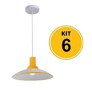 Kit 6 Pendente Chapéu em Vidro Ice Amarelo 30cm - Startec