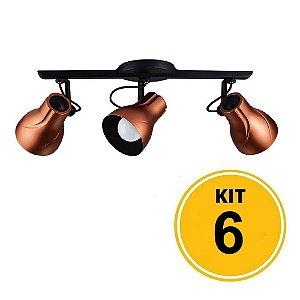 Kit 6 Spot de Sobrepor Direcionável Trilho Octa Plus Cobre 3xE27 - Startec