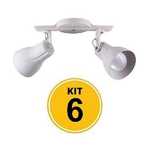 Kit 6 Spot Trilho Octa Plus Branco 2xE27 - Startec