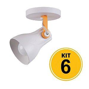 Kit 6 Spot Sobrepor Direcionável Octa Plus Branco/Amarelo 1xE27 - Startec