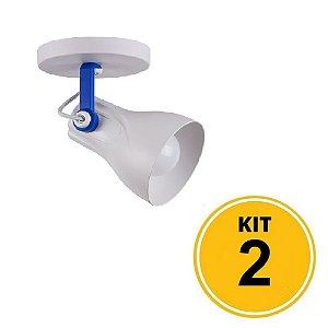 Kit 2 Spot Sobrepor Direcionável Octa Plus Branco/Azul 1xE27 - Startec