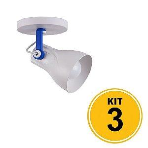 Kit 3 Spot Sobrepor Direcionável Octa Plus Branco/Azul 1xE27 - Startec