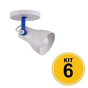 Kit 6 Spot Sobrepor Direcionável Octa Plus Branco/Azul 1xE27 - Startec