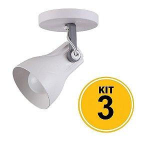 Kit 3 Spot Sobrepor Direcionável Octa Plus Branco/Cinza 1xE27 - Startec