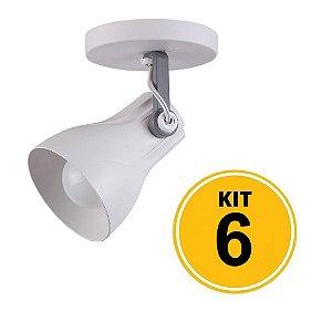 Kit 6 Spot Sobrepor Direcionável Octa Plus Branco/Cinza 1xE27 - Startec