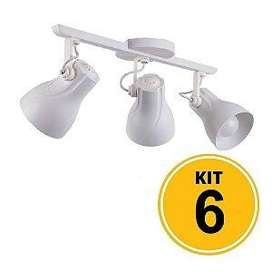 Kit 6 Spot Trilho Octa Plus Branco 3xE27 - Startec