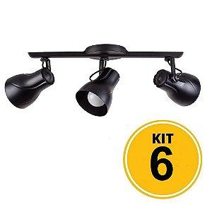 Kit 6 Spot Trilho Octa Plus Preto 3xE27 - Startec