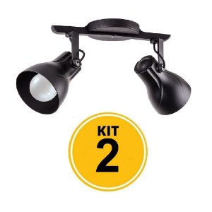 Kit 2 Spot Trilho Octa Plus Preto 2xE27 - Startec