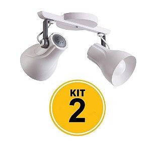 Kit 2 Spot Trilho Octa Plus Branco Detalhe Cinza 2xE27 - Startec