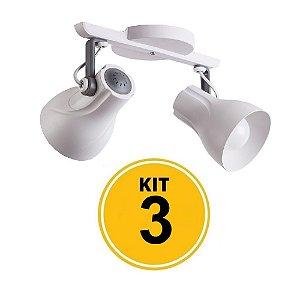 Kit 3 Spot Trilho Octa Plus Branco Detalhe Cinza 2xE27 - Startec