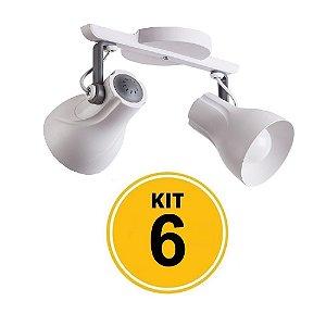 Kit 6 Spot Trilho Octa Plus Branco Detalhe Cinza 2xE27 - Startec