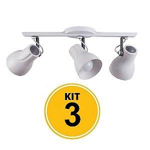 Kit 3 Spot Trilho Octa Plus Branco Detalhe Cinza 3xE27 - Startec