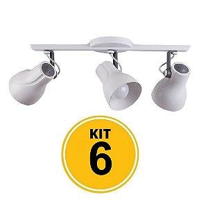 Kit 6 Spot Trilho Octa Plus Branco Detalhe Cinza 3xE27 - Startec