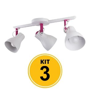 Kit 3 Spot Trilho Octa Plus Branco Detalhe Rosa Pink 3xE27  - Startec