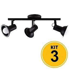 Kit 3 Spot Sobrepor Trilho Direcionável Octa Cupps Preto 3xE27 Bivolt - Design Moderno Quarto/Sala