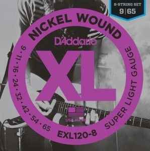 ENCORDOAMENTO D´ADDARIO 009 GUITARRA 8 CORDAS NICKEL WOUND EXL120-8