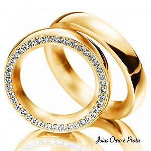 Aliança Miami em Ouro 750 18K com Diamantes (Unidade)
