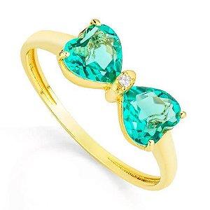 Anel de Ouro 750 18K Laço com Esmeralda e Diamante