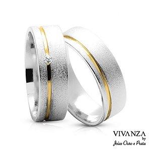 Aliança de Compromisso Diamantada Com Pedra (Unidade)