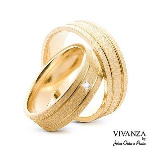 Aliança Diamantada 2 Frisos Banhada Ouro 24k Anatômica (Unidade)
