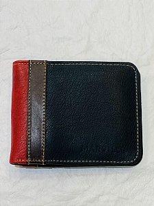 Carteira de Couro Azul Escuro c/ Vermelho - Marville