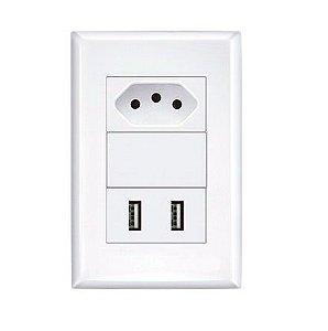 CONJUNTO 4X2 COM 2 ALIMENTADOR USB E 1 TOMADA 2P+T
