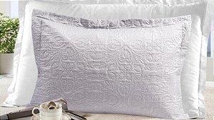 Porta Travesseiro Gigante com 4 Abas Moderno Realce - Cinza Claro - Sultan