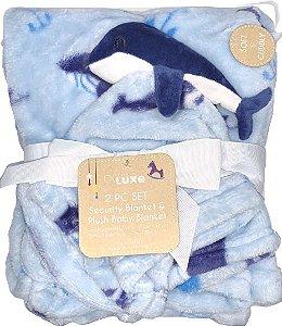 Conjunto Cobertor E Naninha Fofinho E Macio Baleia Azul Babe Luxe