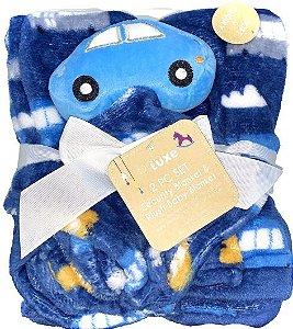 Conjunto Cobertor E Naninha Fofinho E Macio Carrinho Azul Babe Luxe