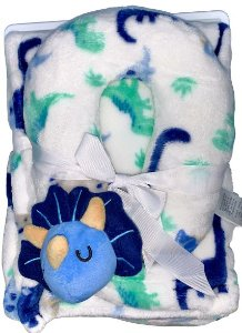 Conjunto Cobertor E Almofada De Pescoço Fofinho E Macio Dinossauro Branco Babe Luxe