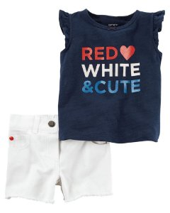 CONJUNTO 2 PEÇAS RED WHITE & CUTE IMPORTADO