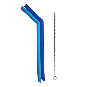Kit 2 Canudos De Silicone Com Limpador Azul KaBaby