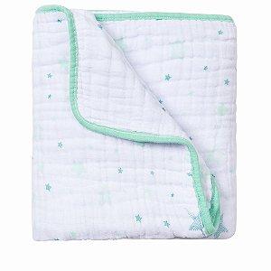 Cobertor Soft Estampado Celeste Verde Papi