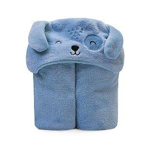 Cobertor De Microfibra Bichuus Com Capuz Bordado Azul 1,10m X 85cm Mami