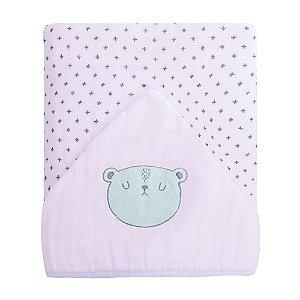 Toalhão De Banho Soft Premium Baby C/ Capuz Bordado 1,05m X 85cm Urso Papi