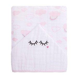 Toalhão De Banho Soft Premium Baby C/ Capuz Bordado 1,05m X 85cm Cílios Papi