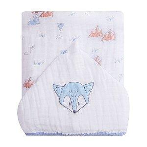 Toalhão De Banho Soft Premium Baby C/ Capuz Bordado 1,05m X 85cm Raposa Papi