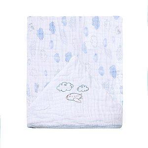 Toalha De Banho Soft Com Capuz Bordado 90X75cm Vôo Azul Papi