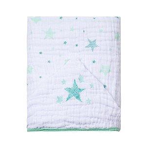 Toalha De Banho Soft Com Capuz Bordado 90X75cm Celeste Verde Papi