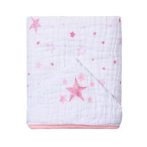 Toalha De Banho Soft Com Capuz Bordado 90X75cm Celeste Rosa Papi
