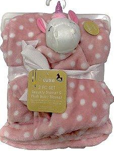 Conjunto Cobertor E Naninha Fofinho E Macio Unicórnio Rosa Babe Luxe