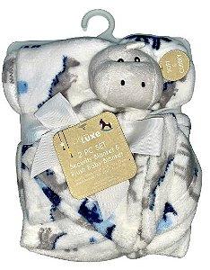 Conjunto Cobertor E Naninha Fofinho E Macio Dinossauro Branco Babe Luxe