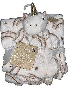 Conjunto Cobertor E Naninha Fofinho E Macio Unicórnio Branco Babe Luxe