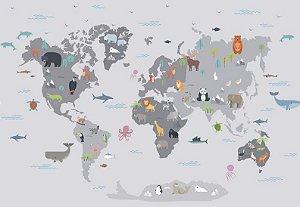 Mapa Mundi Safari Cinza - 3,20 de largura x 2,50 altura